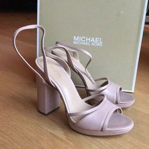 Michael Kors Nude Platform Leather Heels